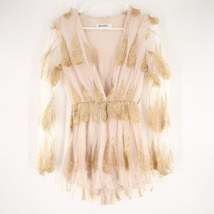Gold Feather Romper S